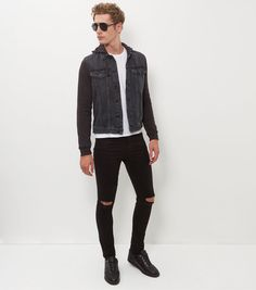 50 shades of ...black Grey Contrast Hooded Denim Jacket  | New Look