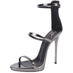 Giuseppe Zanotti Three Strap Sandal (3,235 ILS) ❤ liked on Polyvore featuring shoes, sandals, heels, anthracite, strap sandals, heeled sandals, strappy stiletto sandals, metallic sandals and metallic heel sandals