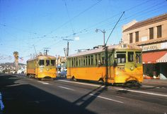 Los Angeles Transit Lines streetcar no.1215 and streetcar no.1386 on Line W at York Boulevard and Avenue 50, November 17, 1954.