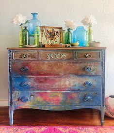 Monet's Water color inspired dresser by Dionne Woods of The Turquoise Iris Rustic Farmhouse Furniture, Vintage Farmhouse, Farmhouse Table, Diy Furniture Renovation, Furniture Makeover, Furniture Ideas, Furniture Design, Vintage Furniture, Painted Furniture