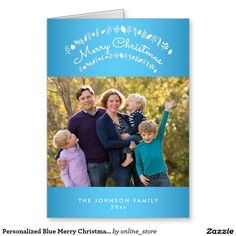 Personalized Blue Merry Christmas Greeting Cards