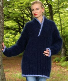 New Hand Knitted Mohair Sweater Shawl Collar BLUE Fuzzy Soft Jumper SUPERTANYA