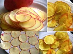 Put thin slices of potato in to microwave for 10 mins. Serve with sour cream/salsa sauce/garlic sauce etc. Or add some shredded cheese on top n send it back in for about 2 more mins. Great for unexpected guests! Microwave Potato Chips, Microwave Grill, Microwave Recipes, Potato Pasta, Potato Crisps, Diet Recipes, Snack Recipes, Snacks, Patatas Chips