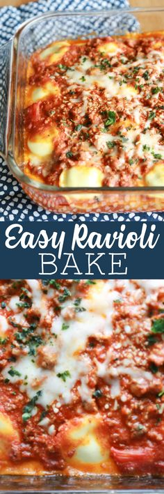 TRIED IT - So good!!! Spend less time in the kitchen this year and more time with your family with this Easy Ravioli Bake recipe. Love this easy recipe! #easyrecipe #ravioli #mealtimesolution #dinnerrecipe #dinner #supper #easy