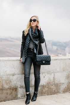 Stormy: Leather Moto Jacket with Louis Vuitton Scarf and Gray Denim - Meagan's Moda Lv Scarf, Louis Vuitton Scarf, Fashion Outfits, Womens Fashion, Scarf Outfits, Fashion Boots, Moto Jacket, My Outfit, Going Out