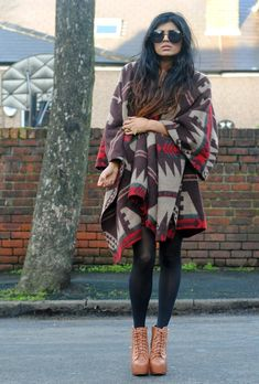 Blanket cape on She Wears Fashion - big comfy chunky material and native patterning