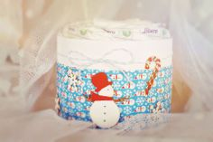 christmas gift - winter time's mini diaper cake