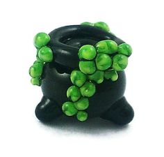 Black and Green Witch's Halloween Cauldron Lampwork by brooksbeads, $12.99