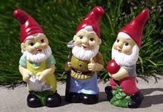 Set of 3 Hand-painted Ceramic Garden Gnomes