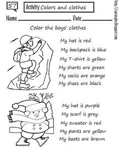 Clothes and colours worksheet worksheet for kids worksheet student