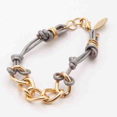 Leather Knot And Chain Bracelet