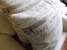 French Document Scripte Pillow SHAMS 24x24 PAIR by yiayias on Etsy, $120.00
