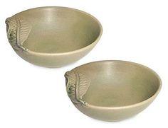 Ceramic bowls, 'Frangipani Leaves' (pair) by NOVICA