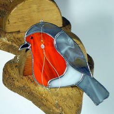 Stained Glass Robin Christmas ornament & by RainbowStainedGlass
