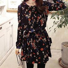 Buy 'Dowisi – Long-Sleeved Floral Print A-Line Dress' with Free International Shipping at YesStyle.com. Browse and shop for thousands of Asian fashion items from China and more!