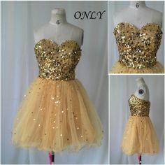 Short prom dress,gold sequins cocktail dress,evening dress,tulle prom dresses,knee length bridesmaid dress,formal dress,homecoming dress