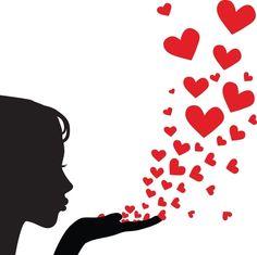 Blowing kisses - salvo na pasta Love, love, love. Silhouette Art, Woman Silhouette, Ballerina Silhouette, Princess Silhouette, Blowing Kisses, Clip Art, I Love Heart, Happy Heart, Heart Art