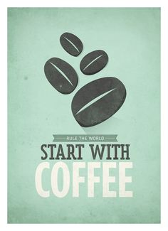 Start with Coffee quote wall decor  Retrostyle by NeueGraphic