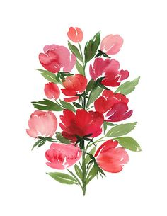 Handmade Watercolor Archival Art Print- Roses in Vertical Arrangement