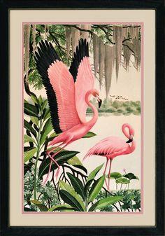 Vintage Flamingo Art - Pink, green, and black trim. Nursery room inspiration.