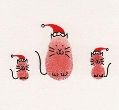 Christmas cat thumbprint idea