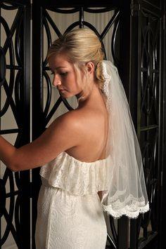 Wedding Veil  Lace Trim Alencon Lace Veil  by SimplyBlueBridal, $75.00