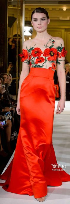 Yanina Spring 2014 Couture red floral evening gown - I absolutely love this gown with the flowers!!