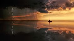 Into the Storm by jopl boat calm clouds dark light ocean rain reflection sail sailing sea seascape sky storm sunset water I Silhouette Fotografie, Voyager Loin, Silhouette Photography, Sound Of Rain, Rain Sounds, Sleep Sounds, Sunset Art, Nature Water, Water Crafts
