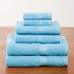Aqua Deluxe Six-Piece Cotton Towel Set | Dorm Bedding and Bath | OCM.com #OCMDreamDorm