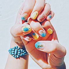 * NAIL 黄色のネイルは元気が出るねぇ . #summer#turquoise#nali#selfnal#indianjewelry#okinawa #沖縄移住#沖縄#セルフネイル#ネイル#イエローネイル#ターコイズネイル#夏ネイル#ターコイズ#南国#コロナフェス