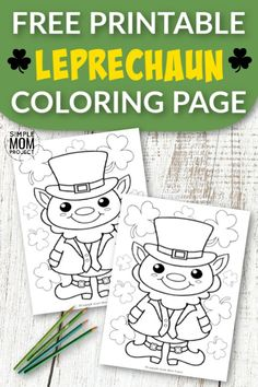Leprechauns are cute, aren't they? Use this free printable St. Patrick's Day leprechaun coloring page. This easy Irish coloring sheet is perfect for preschooler and kindergartners! Print and get yours now! St Patricks Day Crafts For Kids, St Patrick's Day Crafts, Crafts For Kids To Make, Kid Crafts, Children Crafts, Easter Crafts, Leprechaun, Printable Crafts, Free Printables