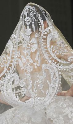 White and Gold Wedding Veil. Elie Saab - Haute Couture S/S 2013