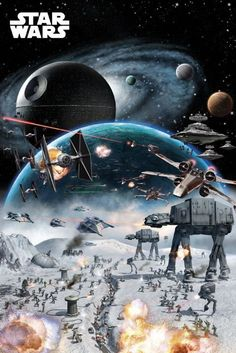 """STAR WARS - MOVIE POSTER / PRINT (BATTLE COLLAGE) (SIZE: 24"""" X 36"""") 