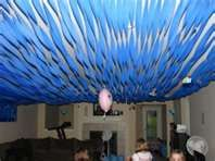 blue streamers on ceiling for fun 'under water' effect Operation Overboard VBS
