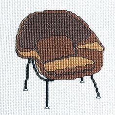 Set of 4 Modern Chairs Cross Stitch Pattern Instant Download | Tiny Modernist Cross Stitch