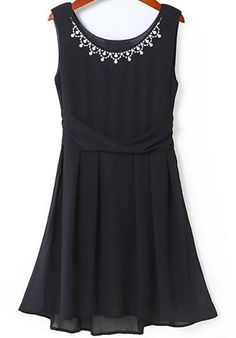 Black Sleeveless Rhinestone Slim Pleated Dress pictures