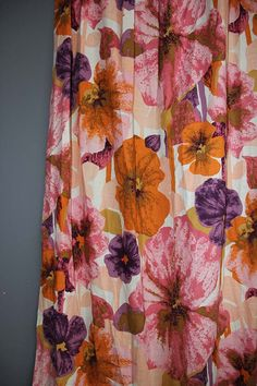 Pair of Vintage Pansy Flower Curtain Panels