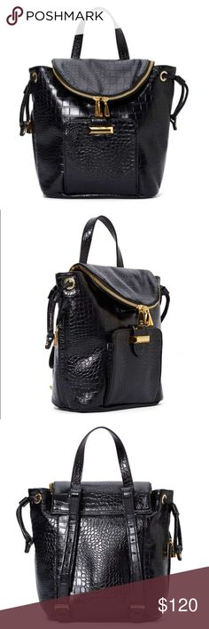 """Snob Essentials Faux Leather Mini Backpack *ALL OFFERS WELCOME!*  New without tag, never used.   Faux leather MINI backpack by Snob Essentials. Purchased from Nasty Gal. Also sold at Nordstrom.  Croc-embossed detailing, gold hardware, and a drawstring closure at top. Adjustable shoulder straps, zip closure a foldover flap, front pocket. Fully lined interior with zip and cell phone compartments.   *Last picture will give you an idea of the size.*  - 11""""/28cm length  - 10""""/25cm depth…"""