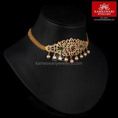 Garden of CZ's Bajubandh Cum Choker Gold Jewelry Simple, Gold Jewellery Design, Schmuck Design, Necklace Designs, Metal, Gold Necklace, Pendant Necklace, Choker Jewelry, Gold Choker