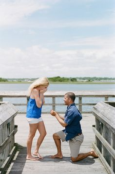 """""""We walked out to the end of the dock and he, in a very sweet and shaky voice, told me all of the things he loved about me and our relationship. He got down on his knee and asked me to marry him."""""""