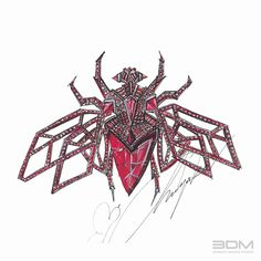"""Hand render of """"Fly"""" brooch with rubies for a high–end fashion Jewelry brand by #3dmjewelrydesignstudio. Render is based on designer's idea and concept.     Call now for a 30 min FREE consultation - 212.575.2099 or visit us at www.3dmjewelrydesign.com"""
