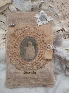 Altered art Fabric Book mixed media by olivegroveprimitives