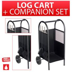 Storage Carrier Cart Rolling with Wheels Log Wood Fireside Companion Set Holder  #Inglenook