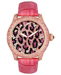 Betsey Johnson Watch, Women's Pink Croc Embossed Leather Strap 41mm BJ00019-29 - Betsey Johnson - Jewelry & Watches - Macy's  $185