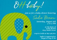 Green and Blue Boy Baby Shower Invitation.