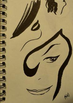 illustration, sketch, women, black and white