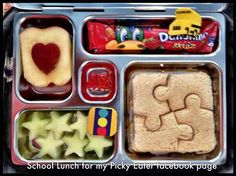 School Lunch for my picky eater Facebook page, Puzzle turkey sandwich, cantaloupe stars, heart apple, danonino and vitamins! kids, food, planetbox. ♥ Click the picture for more!