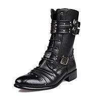 Herre+Støvler+Original+Trendy+støvler+Komfort+Syntetisk+Mikrofiber+PU+Høst+Vinter+Avslappet+Fest/aften+Gange+Nagle+Snøring+Flat+hæl+Svart+–+NOK+kr.+618