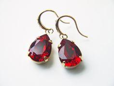 Ruby Red Crystal Earrings Swarovski Crystal Siam Teardrop Dangle Earrings by KaoriKaori on Etsy