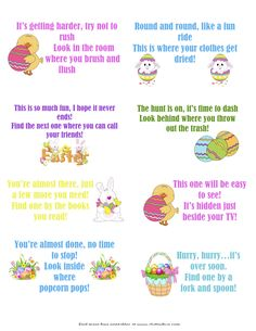 These free printable Easter Scavenger Hunt clues are SO much fun! Let the Easter Bunny lead your children on a super fun treasure hunt for their baskets using these cute scavenger hunt cards! Easter Scavenger Hunt, Scavenger Hunt Clues, Scavenger Hunts, Easter Riddles, Easter Games, Hoppy Easter, Easter Eggs, Easter Egg Hunt Clues, Easter Egg Hunt Ideas